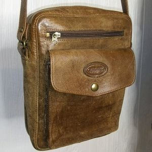 OVERLAND OUTFITTERS Brown Leather Crossbody Bag